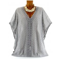 CharlesElie94 TRINITA Women's Grey Lace Cape Poncho Tunic Top UK 10-24