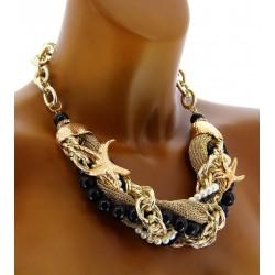 Women's Pearl, Black Rhinestone Starfish Necklace-CharlesElie94