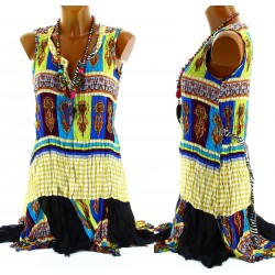 Women's Musln Tunic Dress+Hippy Necklace UK Sizes 8-18 - Charleselie94