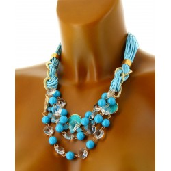 Women's Crystal, Pearl and Leather Necklace- CharlesElie94
