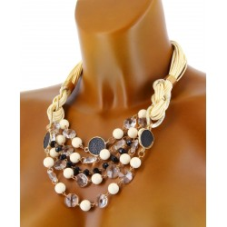 Collier Bijoux Couture Cristaux Perles Cuir Or - SHERYL -