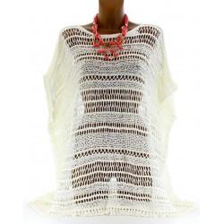 Women's Crochet Cotton Poncho Tunic Size UK 8/20