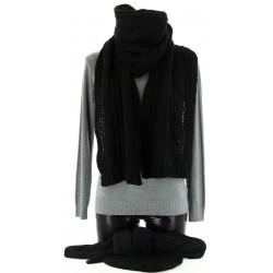 Bonnet + Echarpe + Gants Laine Noir - AVORIAZ - Femme - Homme - CharlesElie94