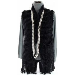 CHARLESELIE94 Gilet fourrure lapin MARIANE veste manteau femme tricot mode hiver