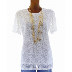 CharlesElie94 CAROLE Women's White Short Sleeves Lace Top Tunic Blouse UK 14-26