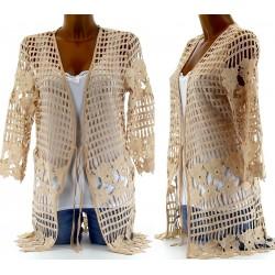 CharlesElie94 LEILA Women's Beige Long Lace Knitted Cardigan Jacket UK 8-12