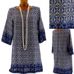 CharlesElie94 JOSIANNE Women Blue Ethnic Print Cotton Blouse Tunic Dress UK10-18