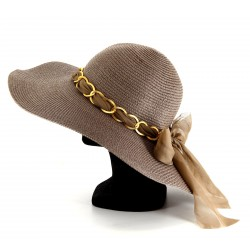 CharlesElie94 ROMEO Women's Summer Party Taupe Capeline Straw Wide-Brimmed Hat