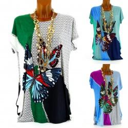 CharlesElie94 FLORINETTE Women's Butterflies Printed Tunic T-Shirt Top UK 10-20