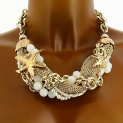 CharlesElie94 FOLLOW Women's Novelty Beads and Starfish Golden Necklace