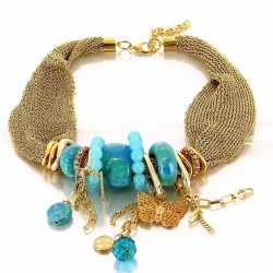 CharlesElie94 GEORGIA Women's Turquoise Beads and Butterfly Golden Mesh Necklace