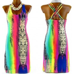 CharlesElie94 ALICIA Women's Sexy Neon Jersey Lycra Crossed Straps Dress UK 8-14