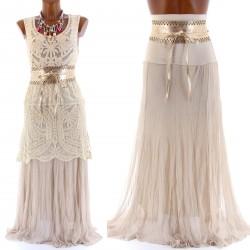 CharlesElie94 FABIENNE Women's Summer Boho Net Maxi Long Skirt/Bandeau Dress