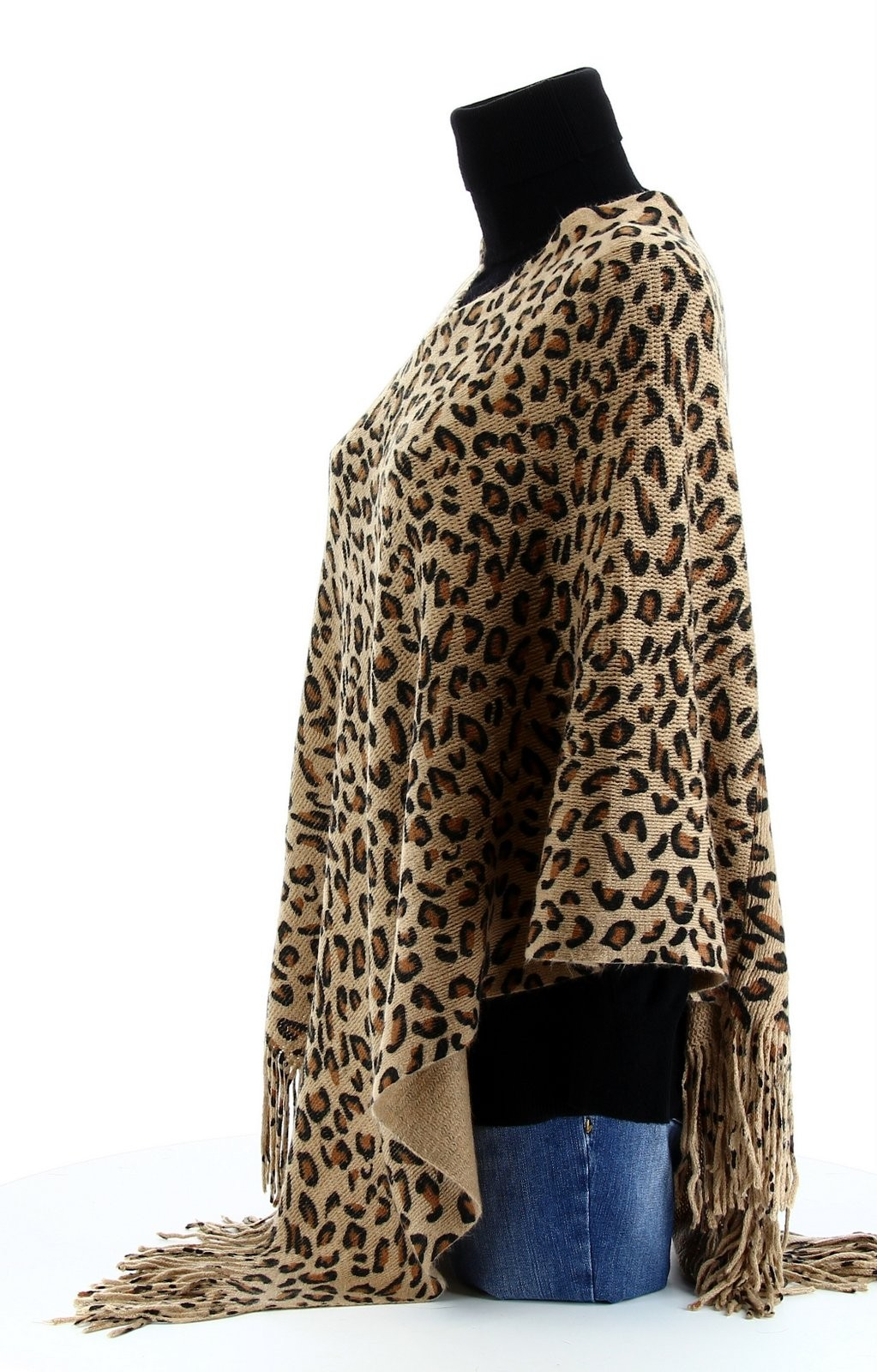 poncho cape l opard beige 36 46 pull hiver benedicte femme ebay. Black Bedroom Furniture Sets. Home Design Ideas