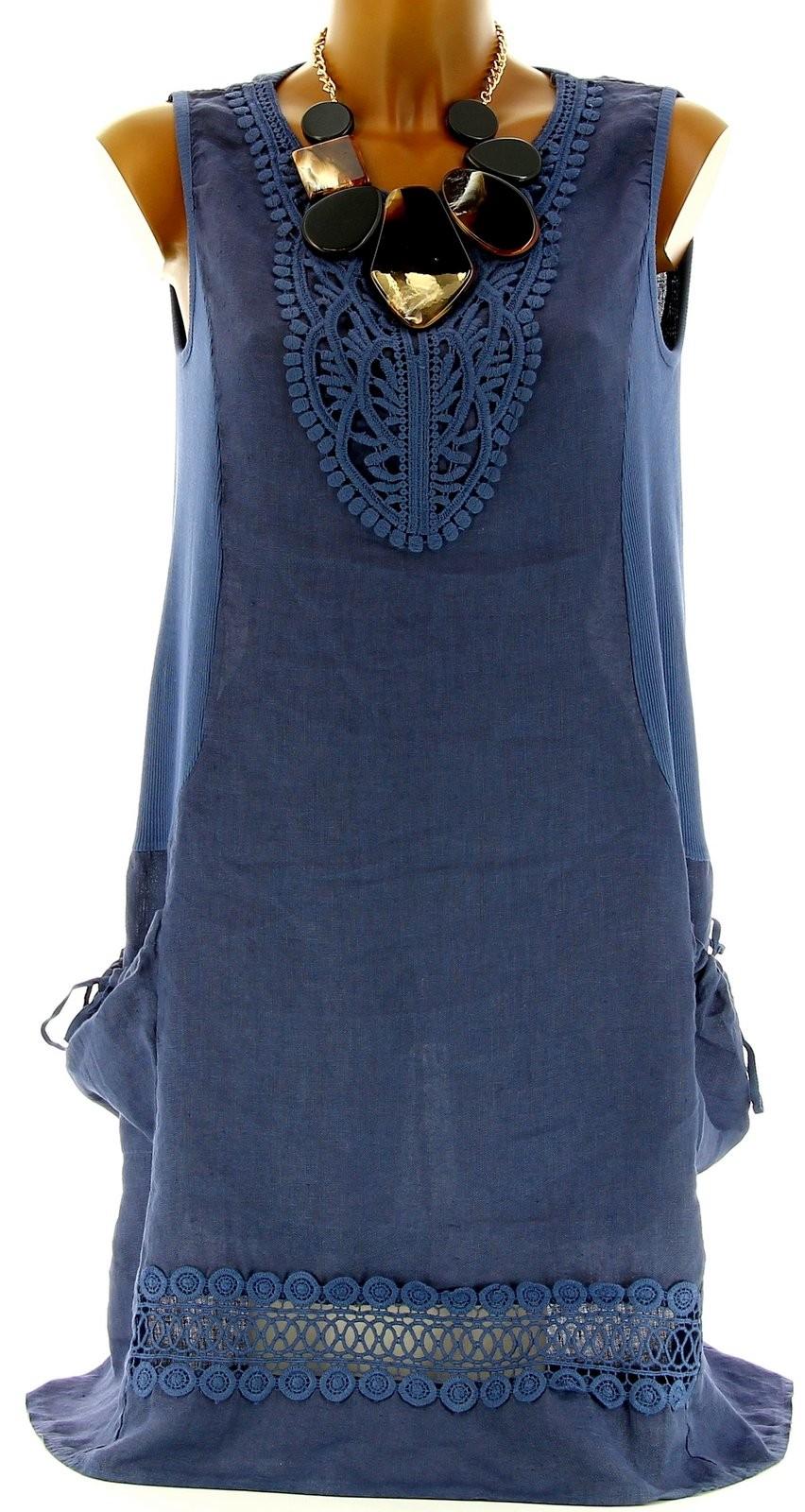robe t lin dentelle macram boh me bleu jean cecilia bleu ebay. Black Bedroom Furniture Sets. Home Design Ideas