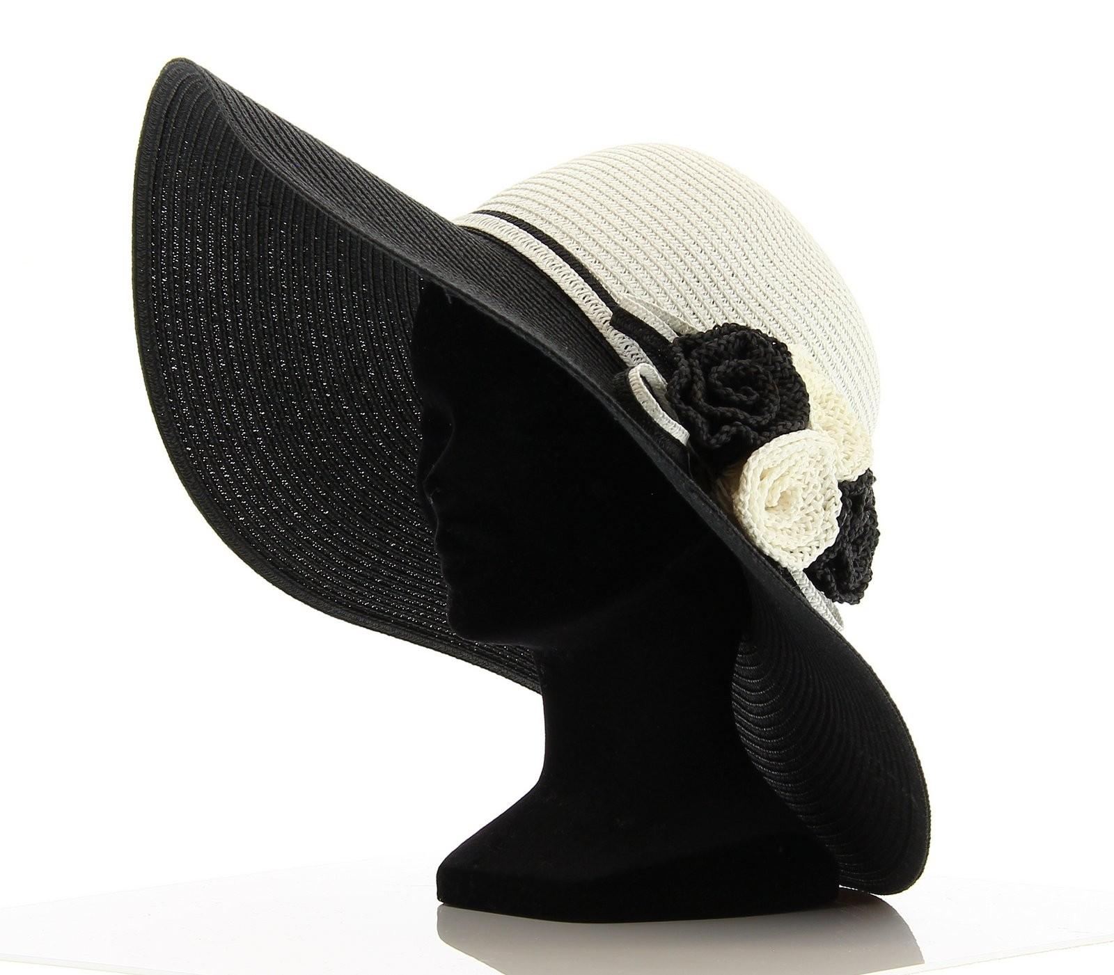 chapeau capeline paille demetrio femme c r monie et noir blanc ebay. Black Bedroom Furniture Sets. Home Design Ideas