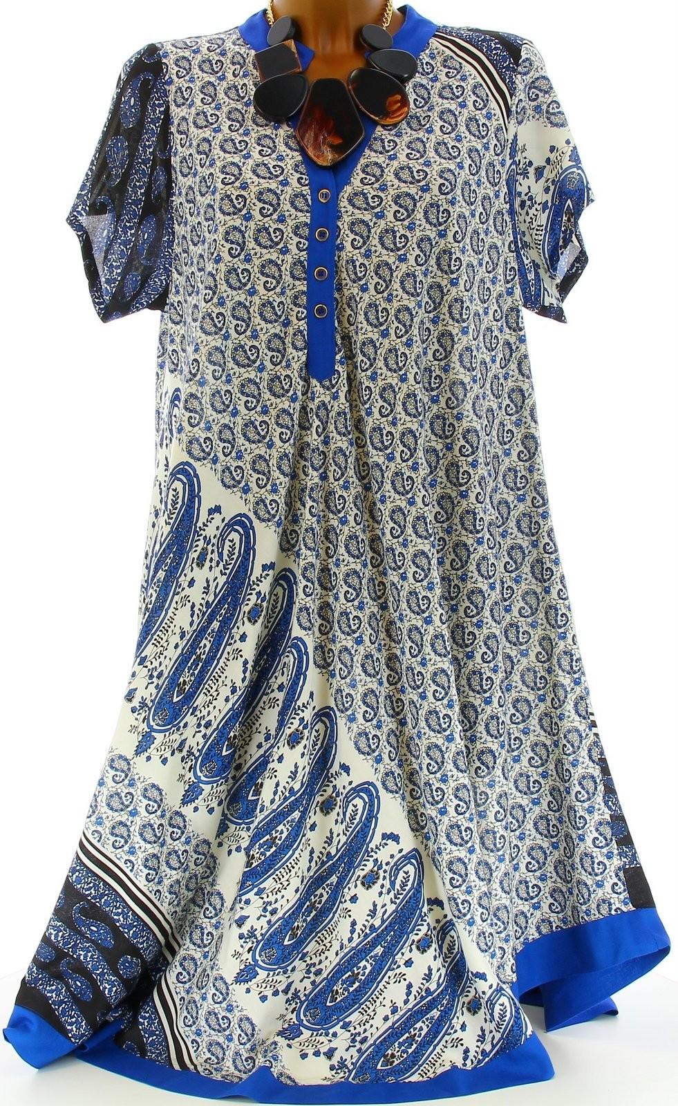 robe ample boh me ethnique grande taille t bleu royal coralie bleu ebay. Black Bedroom Furniture Sets. Home Design Ideas