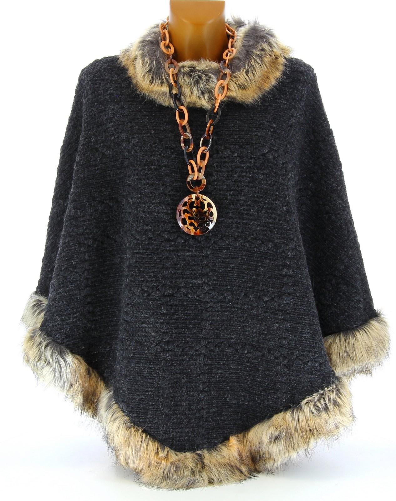 cape manteau poncho laine fourrure hiver gris rosetta noir ebay. Black Bedroom Furniture Sets. Home Design Ideas