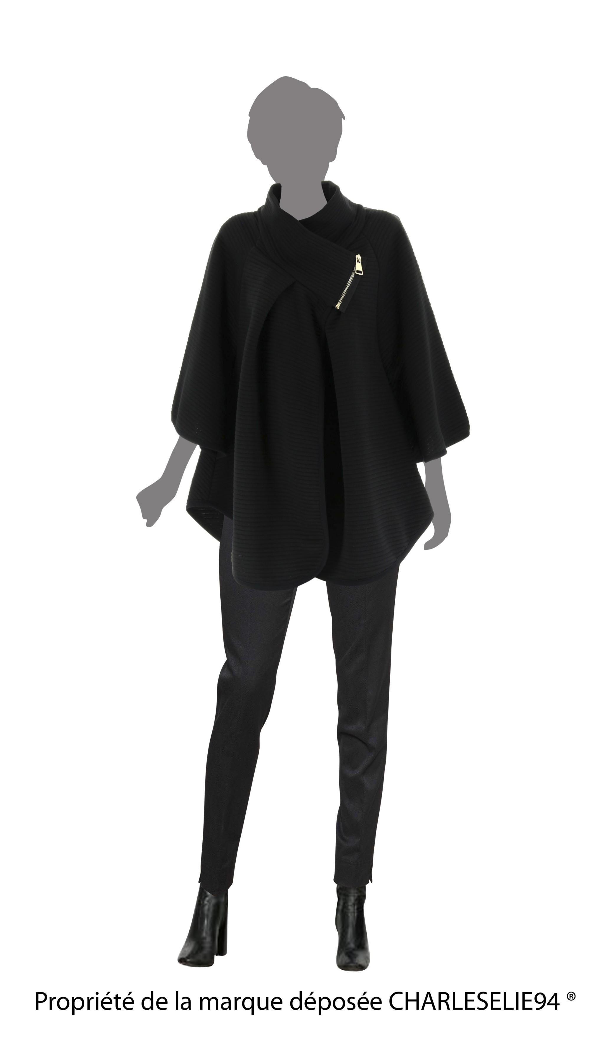 cape manteau grand col grande taille noir mathilda noir ebay. Black Bedroom Furniture Sets. Home Design Ideas