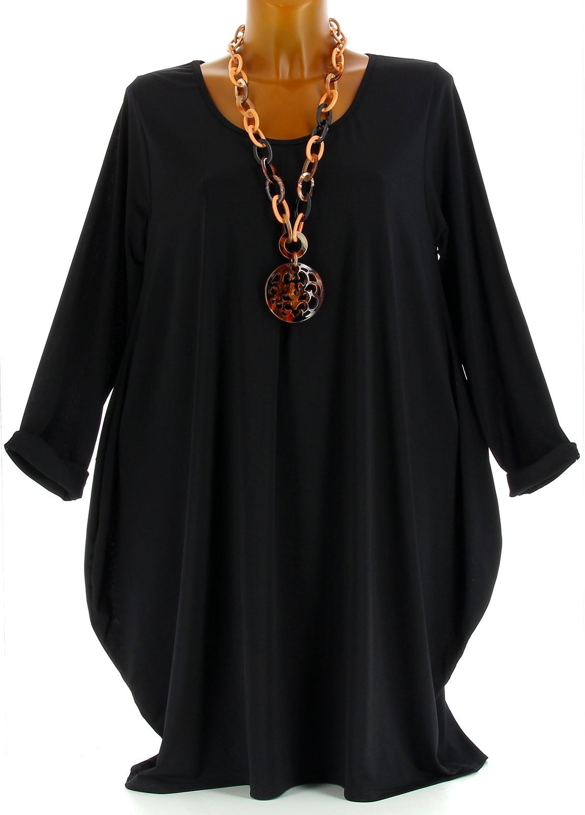 Robe tunique boule jersey grande taille noir olive noir ebay for Robe housse grande taille