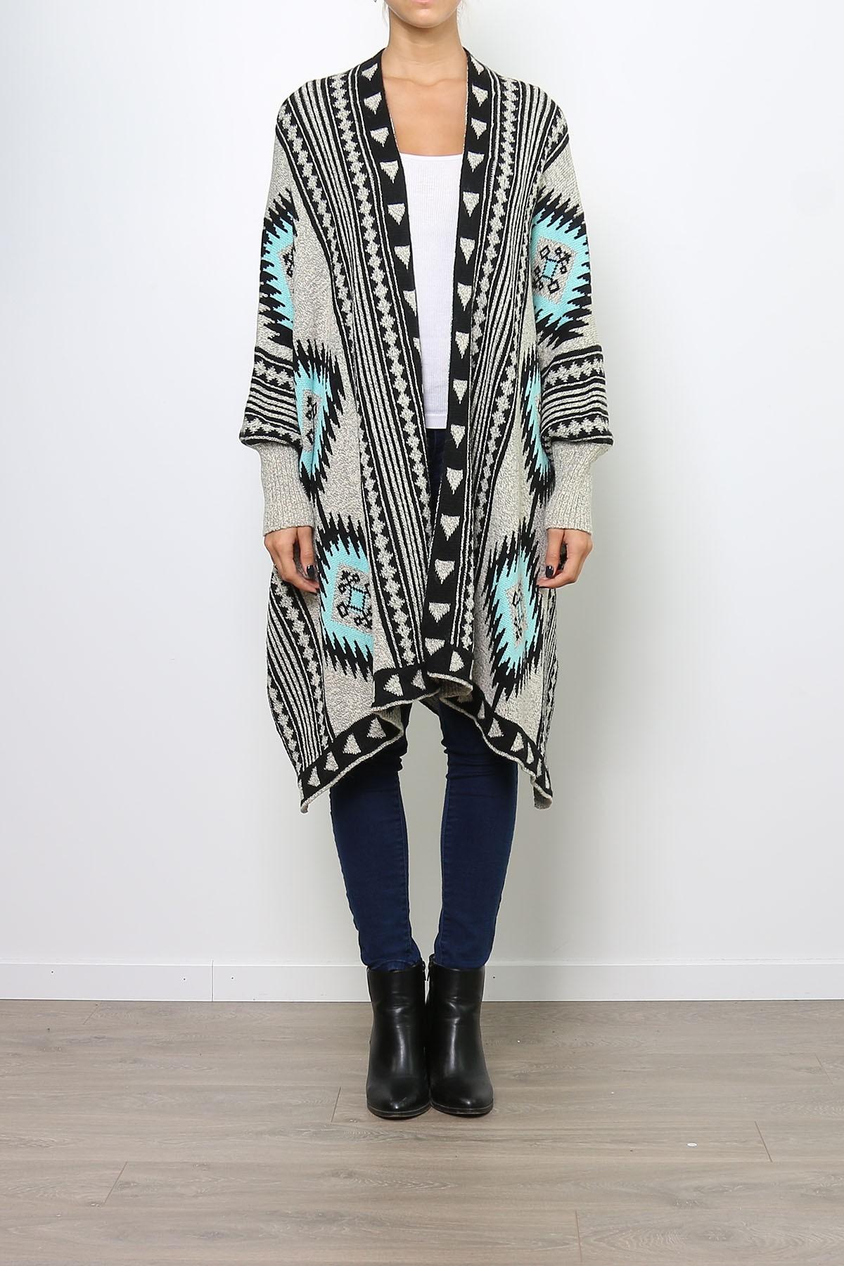 gilet long poncho ethnique laine beige bleu artemis beige ebay. Black Bedroom Furniture Sets. Home Design Ideas