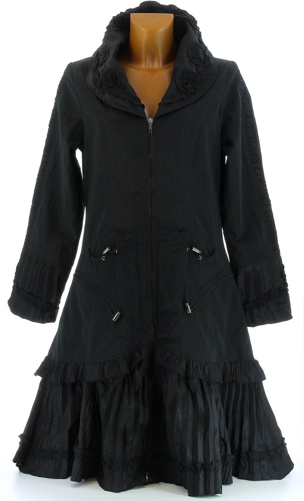 manteau long trench imperm able grande taille noir angelina noir ebay. Black Bedroom Furniture Sets. Home Design Ideas