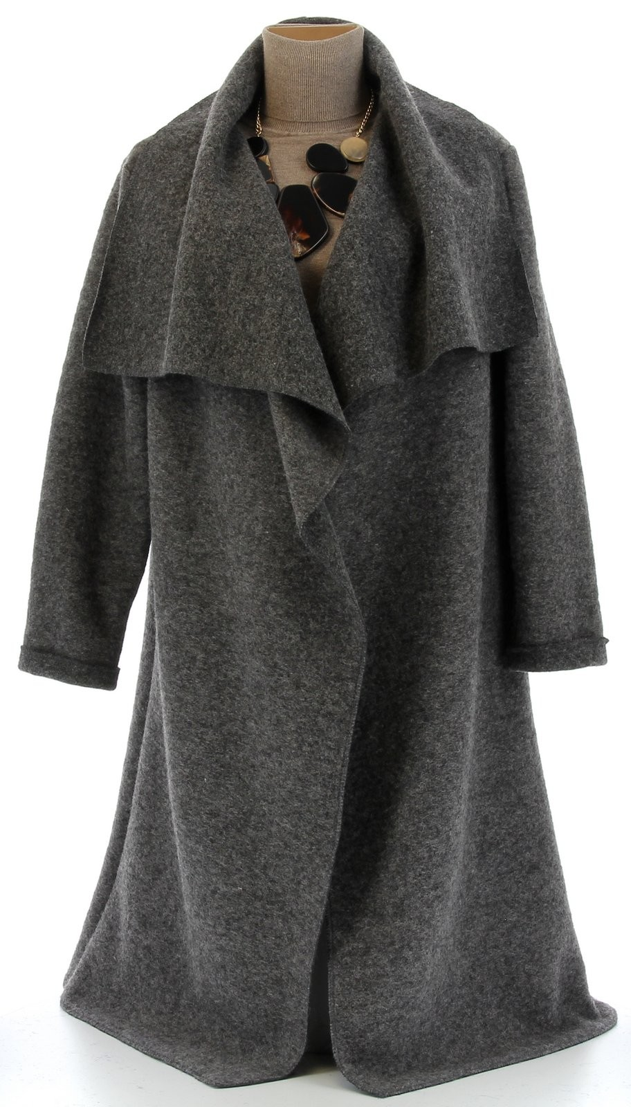 manteau hiver ample laine bouillie grande taille gris aurelia gris. Black Bedroom Furniture Sets. Home Design Ideas