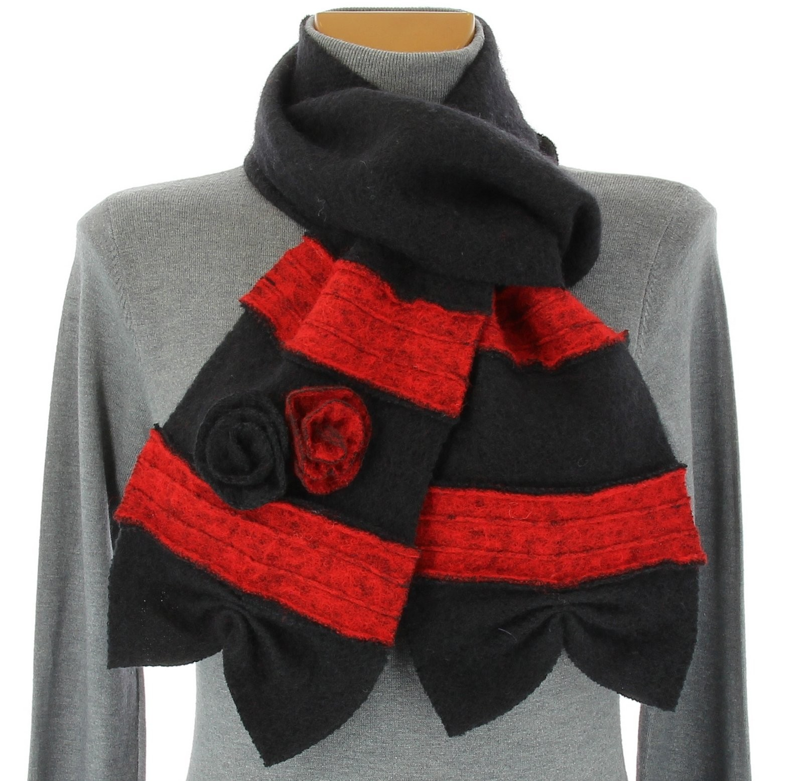 scarf boiled wool flowers black albert ebay