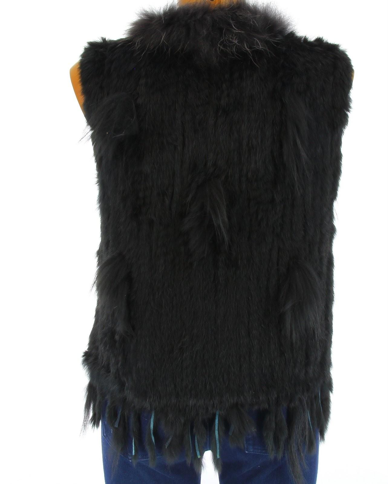 Gilet veste sans manche fourrure raton laveur et lapin - Fourrure noir sans manche ...
