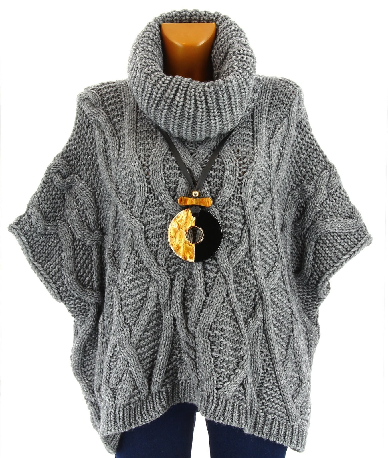 Pull poncho laine mohair grosse maille hiver gris sorenza gris ebay - Laine grosse maille ...