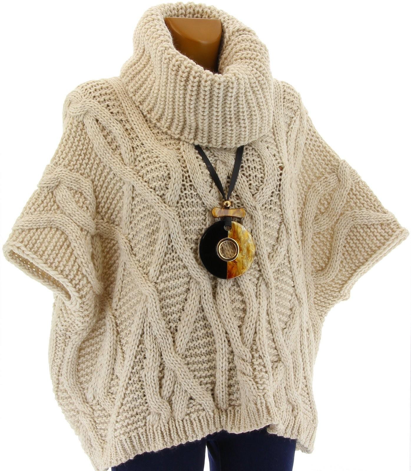 pull poncho laine mohair grosse maille hiver beige sorenza. Black Bedroom Furniture Sets. Home Design Ideas
