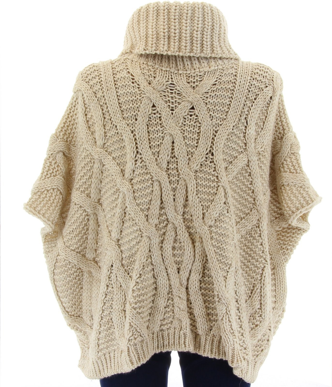 Pull poncho laine mohair grosse maille hiver beige sorenza beige ebay - Laine grosse maille ...