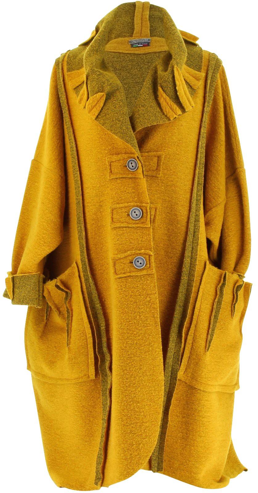 manteau long hiver laine bouillie grande taille femme moutarde karla jaune ebay. Black Bedroom Furniture Sets. Home Design Ideas