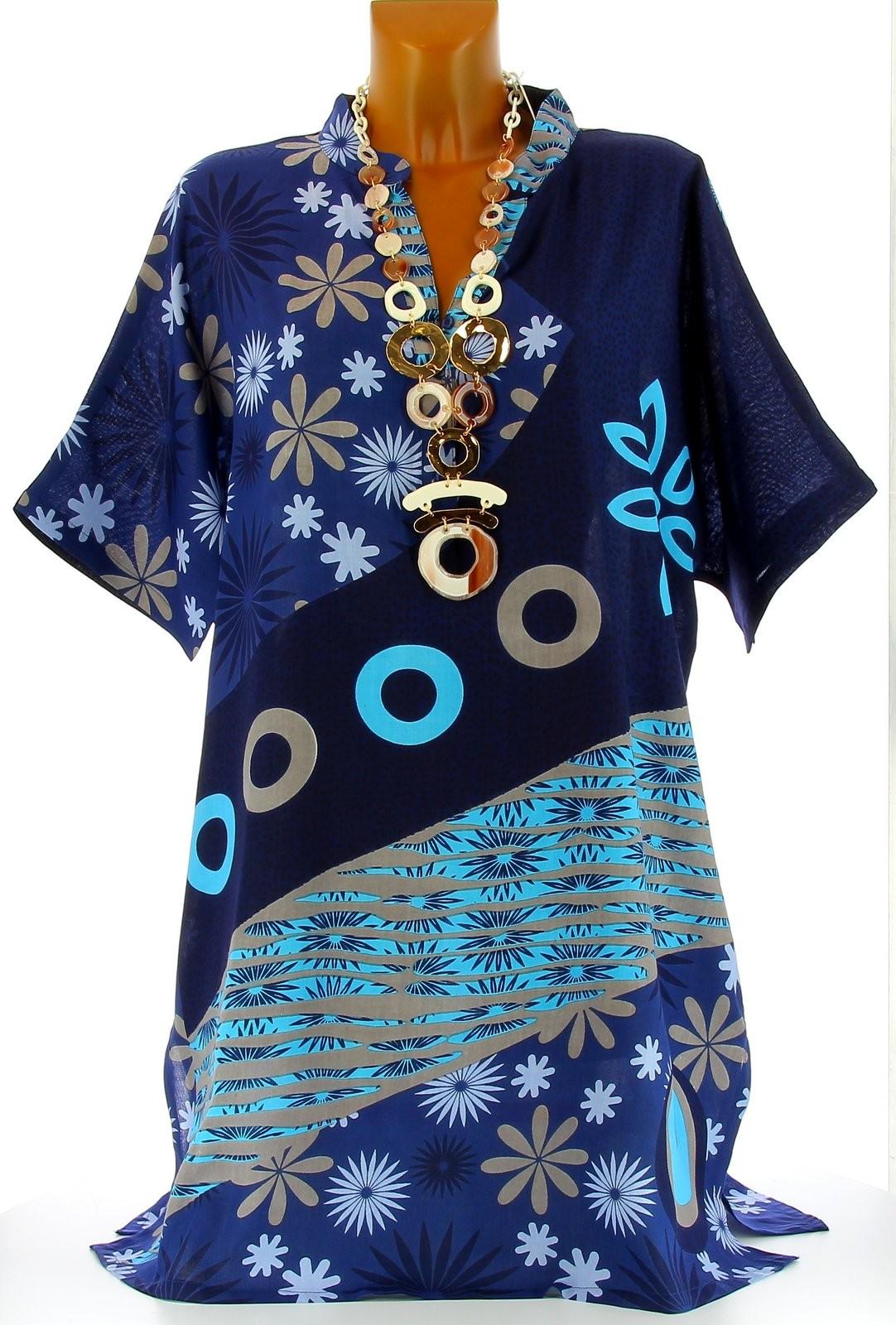 robe tunique ethnique boh me t bleu clara grande taille bleu ebay. Black Bedroom Furniture Sets. Home Design Ideas