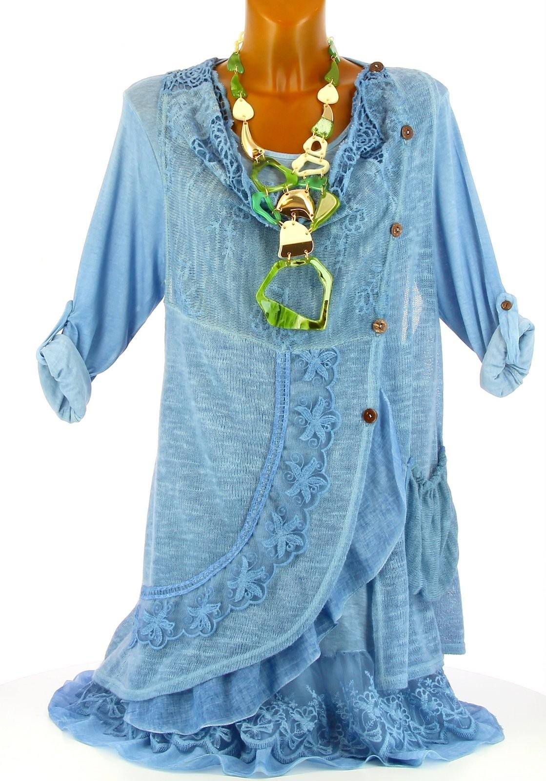 robe tunique dentelle boh me coton bleu gisella bleu ebay. Black Bedroom Furniture Sets. Home Design Ideas