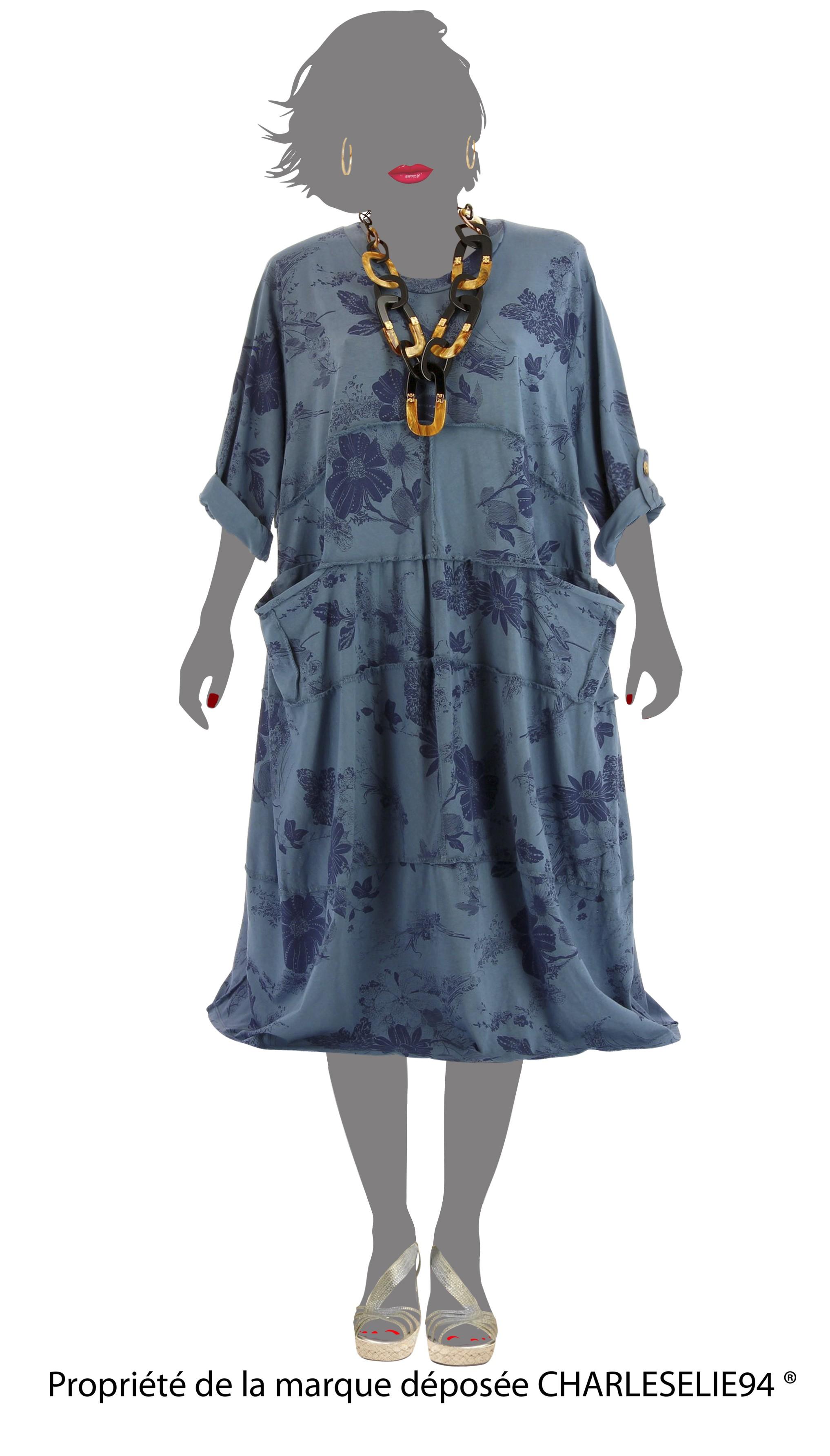 robe t boh me coton grande taille bleu jean patchwork bleu ebay. Black Bedroom Furniture Sets. Home Design Ideas
