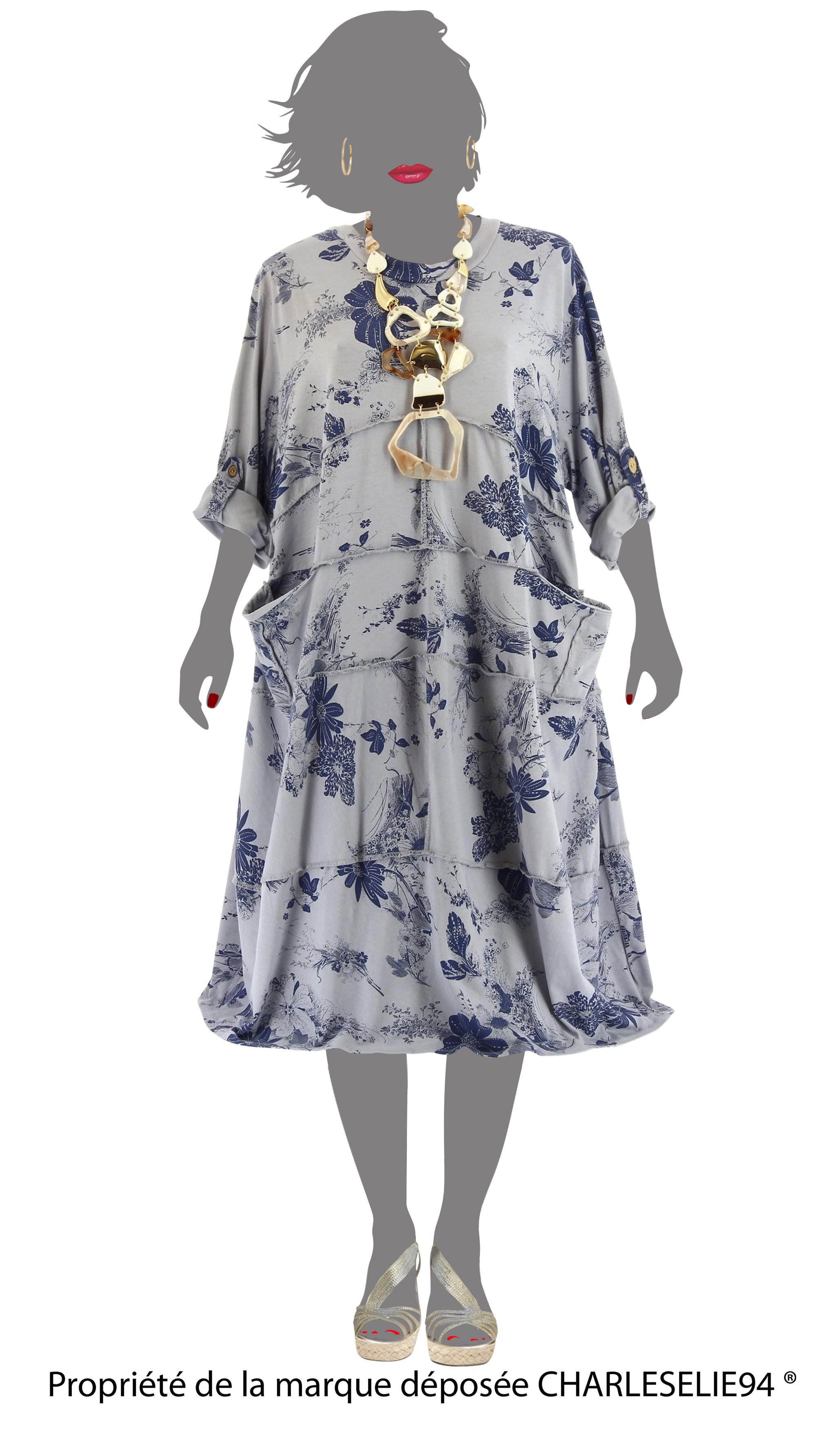 robe t boh me coton grande taille gris patchwork gris ebay. Black Bedroom Furniture Sets. Home Design Ideas