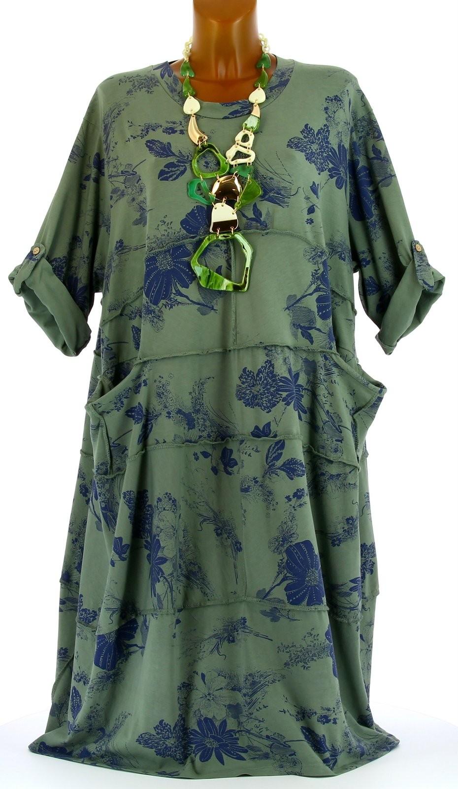 robe t boh me coton grande taille kaki patchwork vert ebay. Black Bedroom Furniture Sets. Home Design Ideas