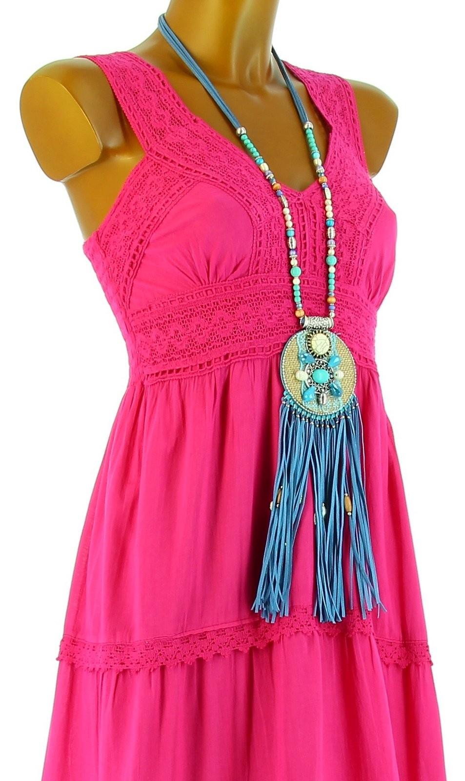 robe longue t dentelle coton boho fushia adriana rose ebay. Black Bedroom Furniture Sets. Home Design Ideas