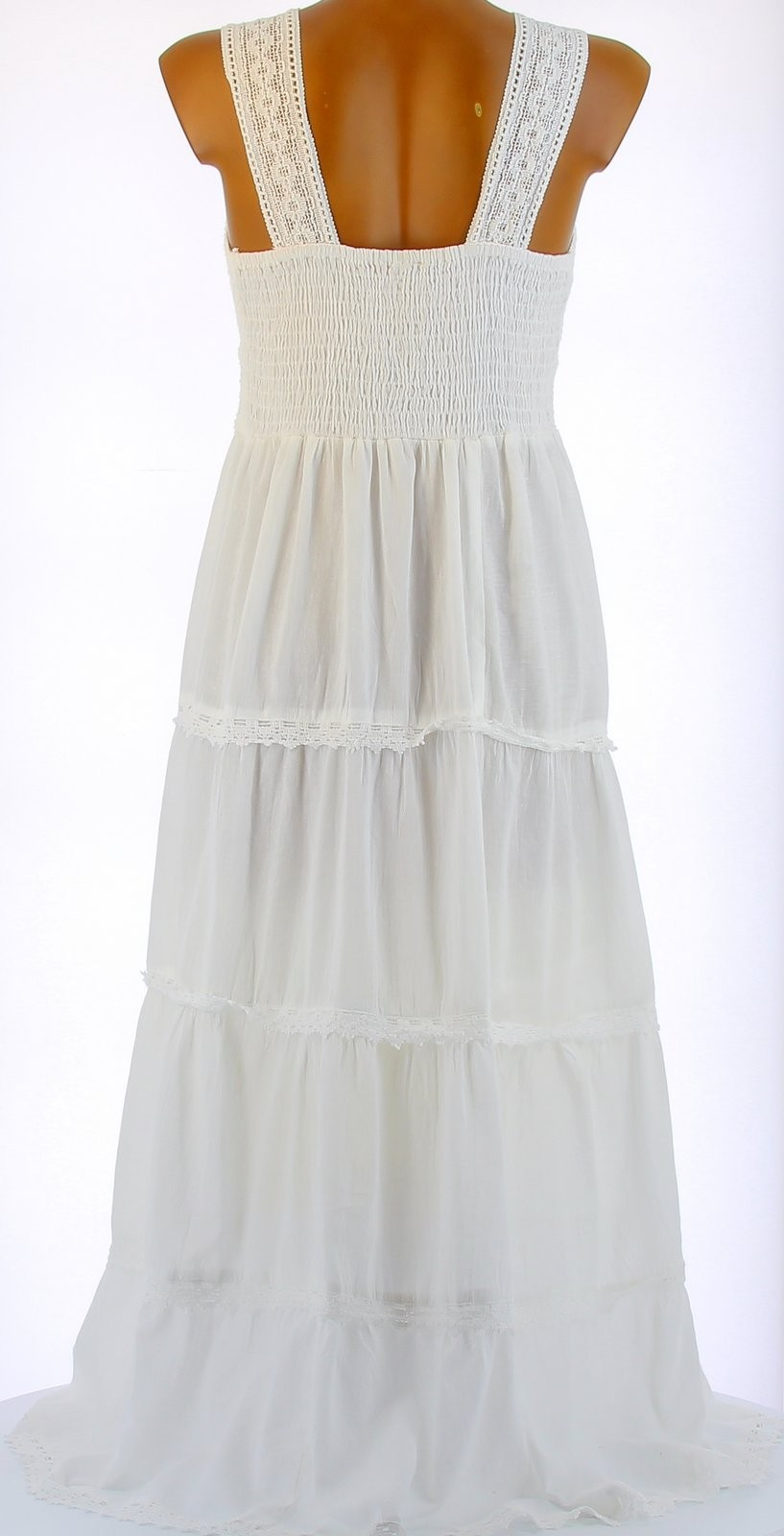 robe longue t dentelle coton boho blanche adriana blanc ebay. Black Bedroom Furniture Sets. Home Design Ideas