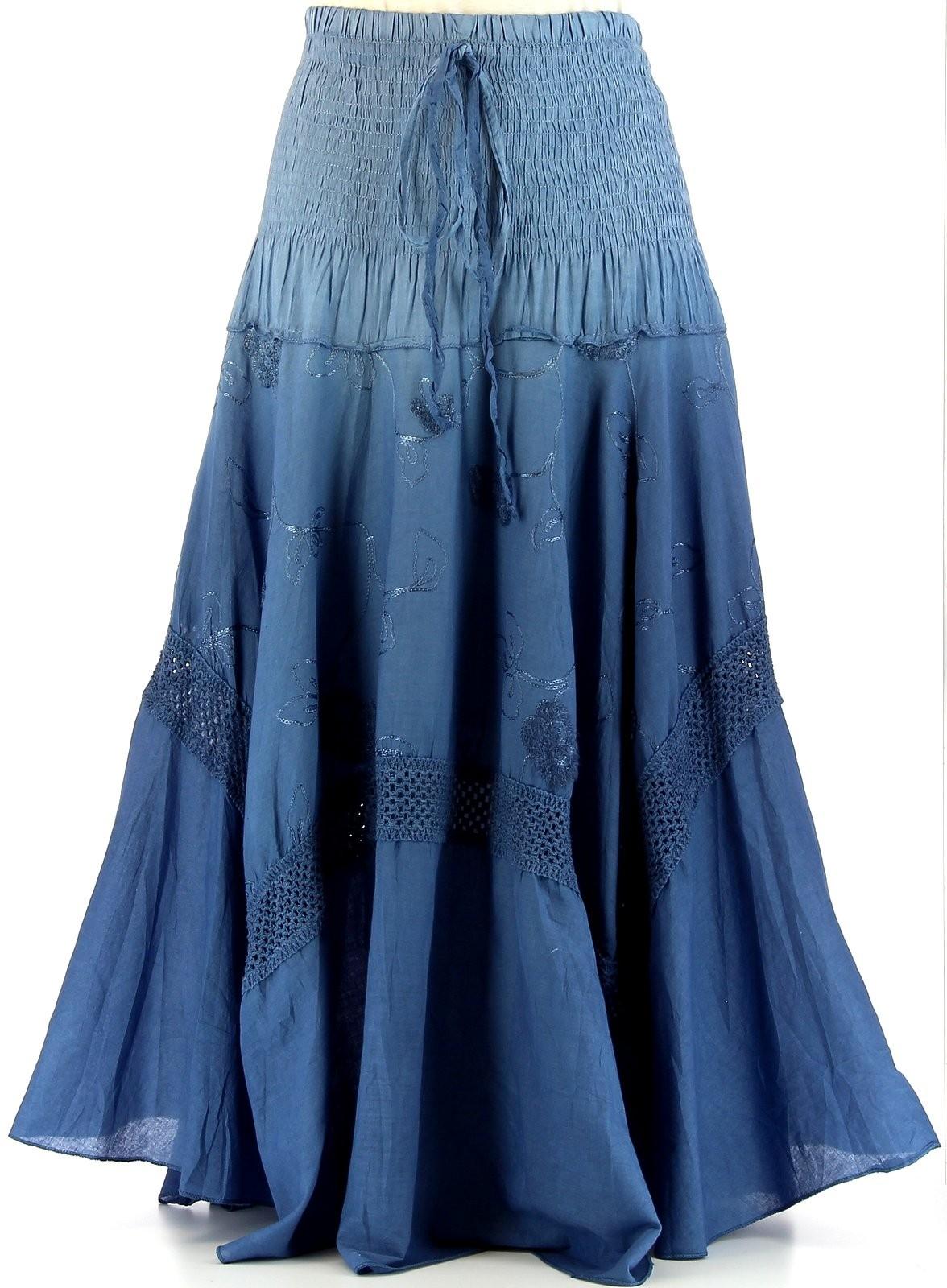 jupe longue boh me dentelle tie and dye begonia bleu. Black Bedroom Furniture Sets. Home Design Ideas