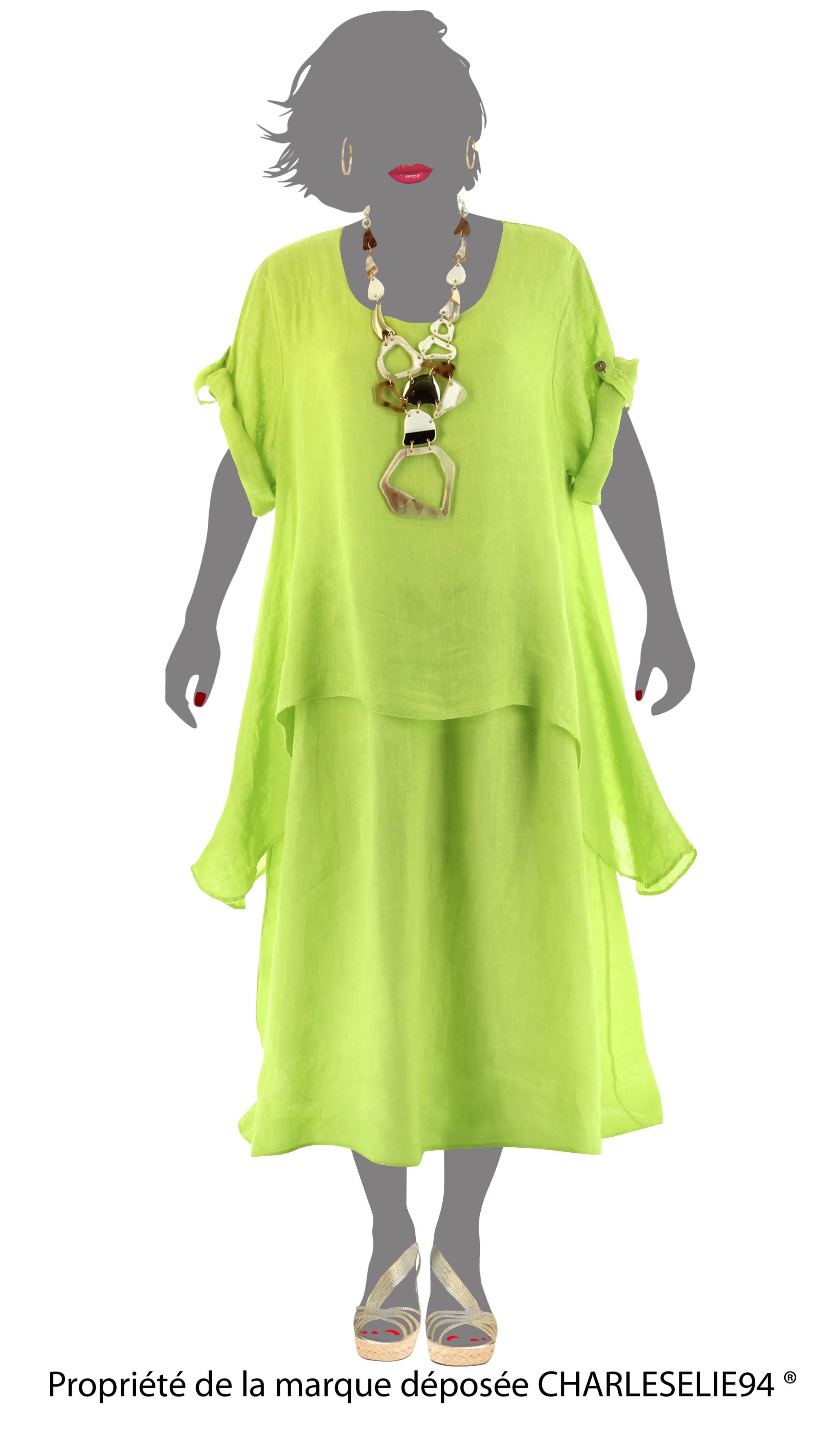 robe longue t lin boh me superposition anis blandine vert ebay. Black Bedroom Furniture Sets. Home Design Ideas