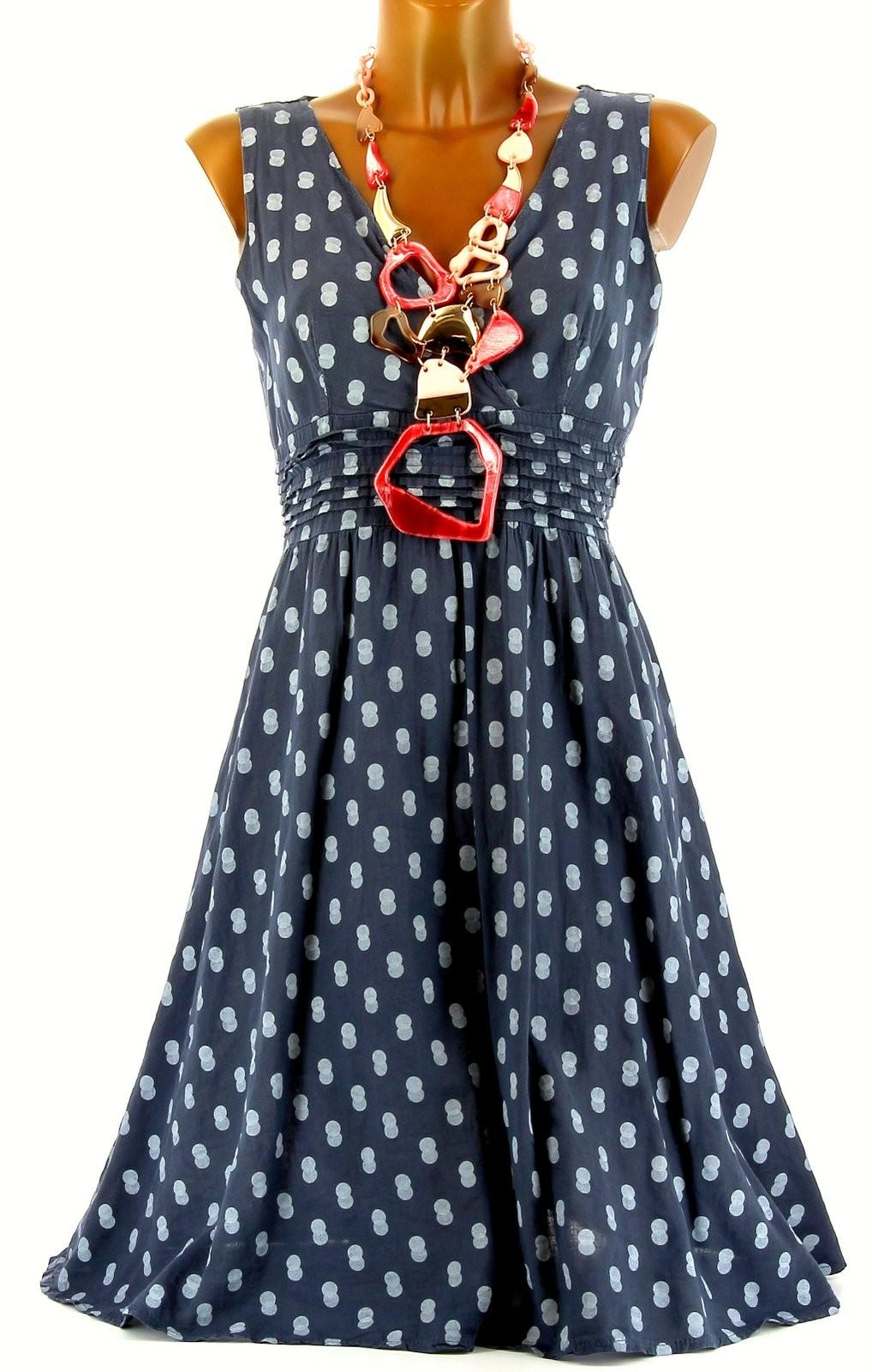 robe t coton boh me chic pois bleu jean nadege bleu ebay. Black Bedroom Furniture Sets. Home Design Ideas
