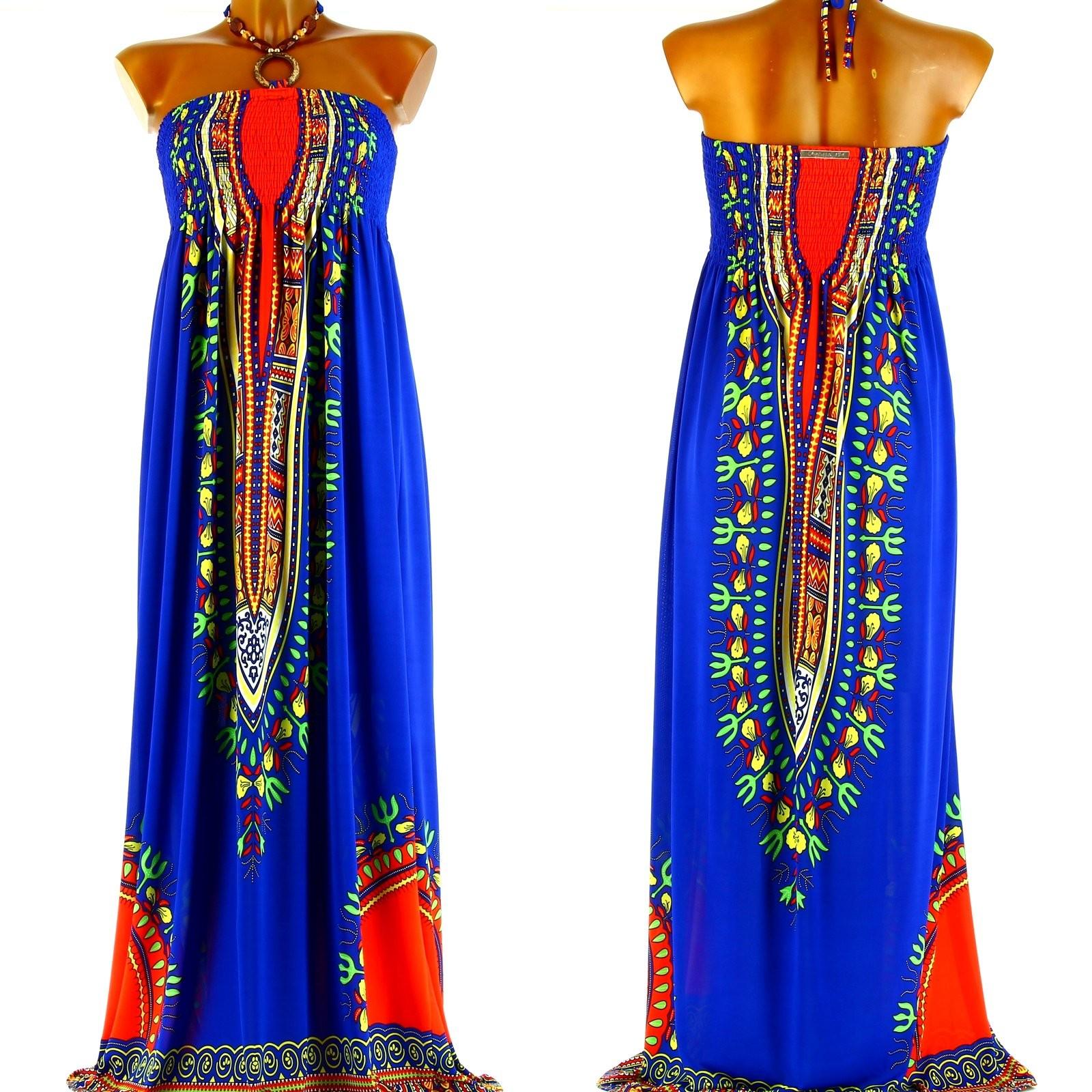 robe longue bustier t boh me ethnique bleu helena bleu ebay. Black Bedroom Furniture Sets. Home Design Ideas