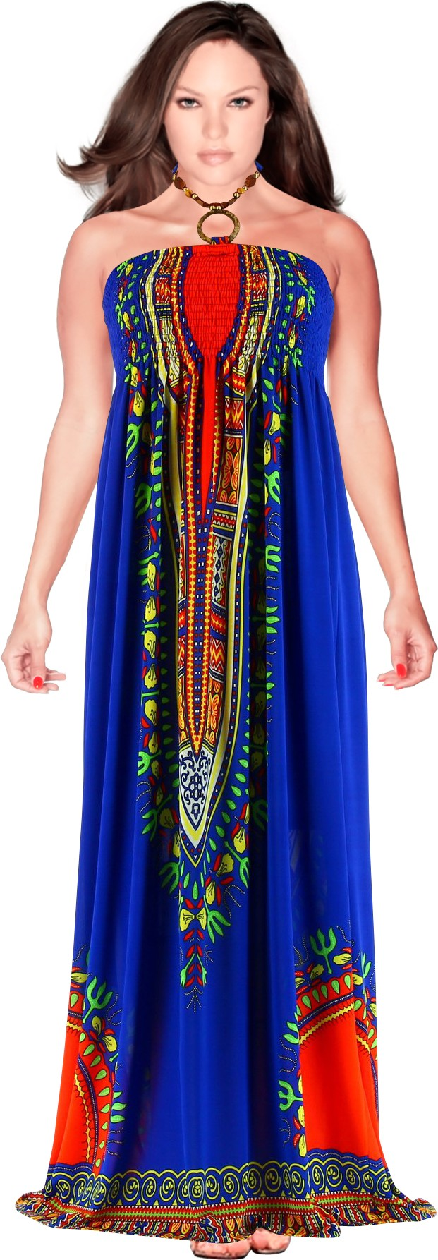 robe longue bustier t boh me ethnique bleu helena bleu. Black Bedroom Furniture Sets. Home Design Ideas